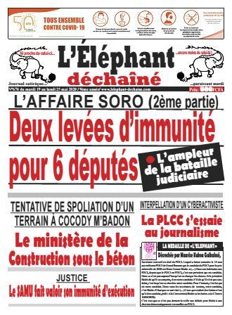 Couverture du Journal L'ÉLÉPHANT DÉCHAINÉ N° 678 du 19/05/2020