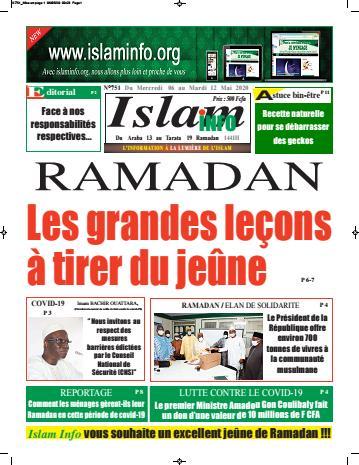 Couverture du Journal ISLAM INFO N° 751 du 06/05/2020