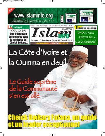 Couverture du Journal ISLAM INFO N° 753 du 22/05/2020