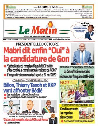 Couverture du Journal LE MATIN N° 252 du 26/05/2020