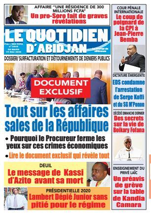 Couverture du Journal LE QUOTIDIEN D'ABIDJAN N° 2845 du 19 ...
