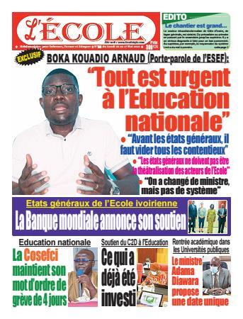 Couverture du Journal L'Ecole N° 28 du 09/05/2021