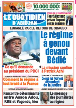 Couverture du Journal LE QUOTIDIEN D'ABIDJAN N° 3087 du 04/05/2021