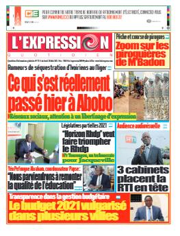 Couverture du Journal L'EXPRESSION N° 3315 du 20/05/2021