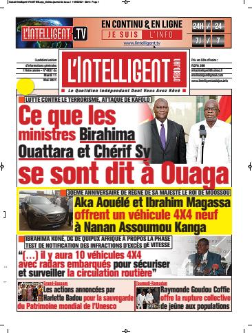 Couverture du Journal L'INTELLIGENT D'ABIDJAN N° 4841 du 11/05/2021