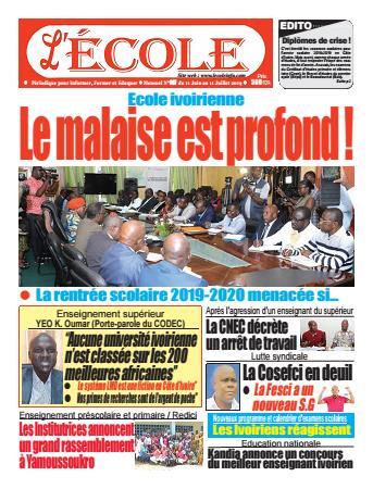 Couverture du Journal L'Ecole N° 7 du 12/06/2019