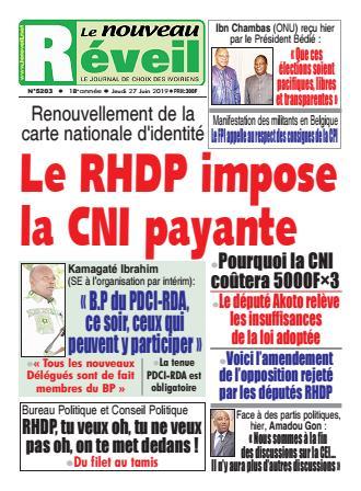 Couverture du Journal LE NOUVEAU RÉVEIL N° 5203 du 27/06/2019