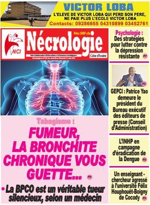 Couverture du Journal NECROLOGIE CÔTE D'IVOIRE N° 107 du 06/06/2019