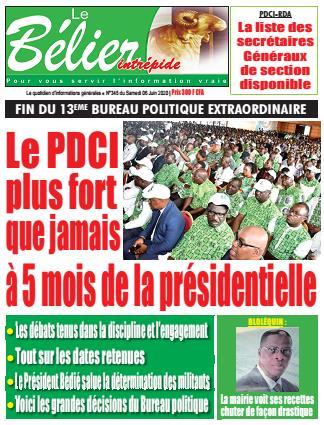 Couverture du Journal LE BÉLIER INTRÉPIDE N° 345 du 06/06/2020