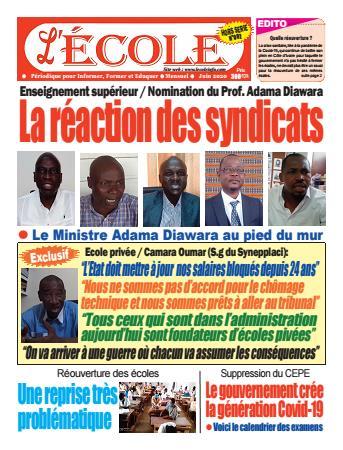 Couverture du Journal L'Ecole N° 2 du 11/06/2020
