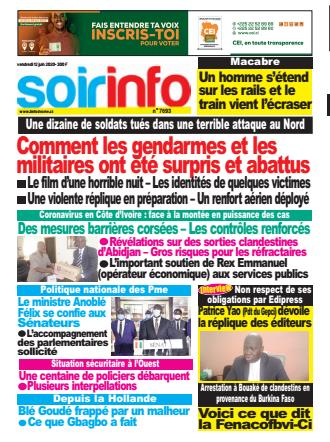 Couverture du Journal SOIR INFO N° 7693 du 12/06/2020