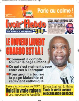 Couverture du Journal IVOIR'HEBDO N° 41 du 22/06/2021