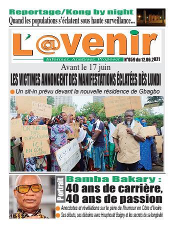 Couverture du Journal L'AVENIR N° 59 du 12/06/2021
