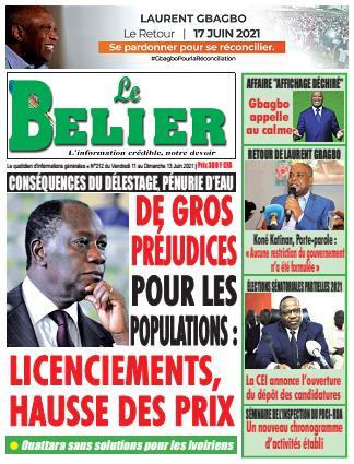 Couverture du Journal LE BELIER N° 213 du 11/06/2021