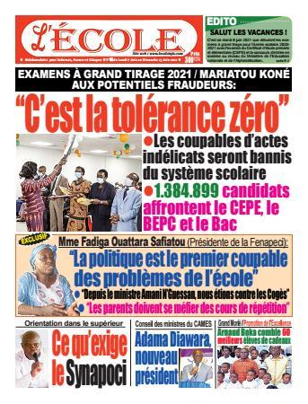 Couverture du Journal L'Ecole N° 32 du 07/06/2021
