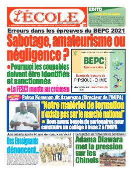 Couverture du Journal L'Ecole N° 34 du 21/06/2021
