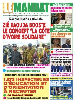Couverture du Journal LE MANDAT N° 3142 du 22/06/2021