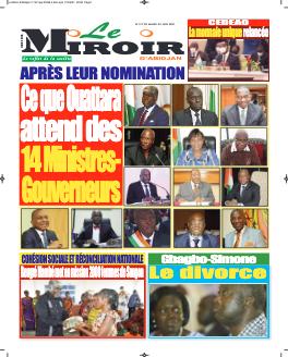 Couverture du Journal LE MIROIR D'ABIDJAN N° 212 du 22/06/2021