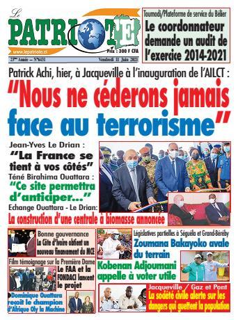 Couverture du Journal LE PATRIOTE N° 6431 du 11/06/2021