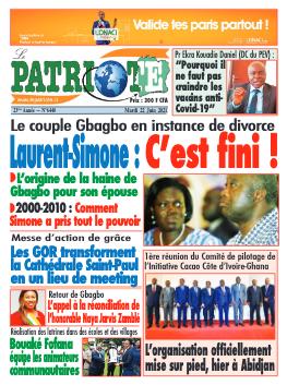 Couverture du Journal LE PATRIOTE N° 6440 du 22/06/2021