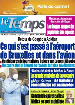 Couverture du Journal LE TEMPS N° 5240 du 22/06/2021