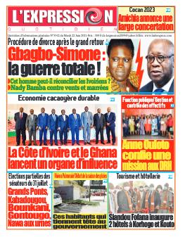 Couverture du Journal L'EXPRESSION N° 3342 du 22/06/2021