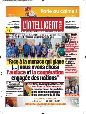 Couverture du Journal L'INTELLIGENT D'ABIDJAN N° 4853 du 11/06/2021