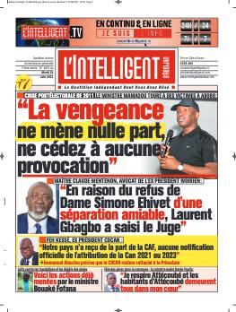 Couverture du Journal L'INTELLIGENT D'ABIDJAN N° 4856 du 22/06/2021