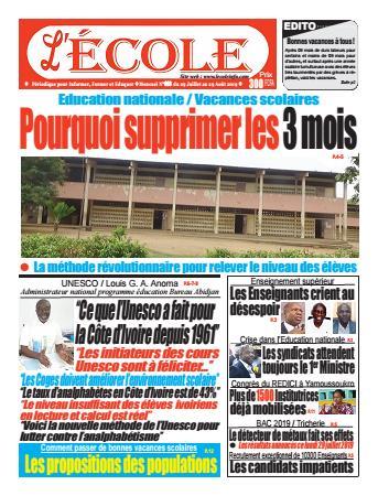 Couverture du Journal L'Ecole N° 8 du 30/07/2019