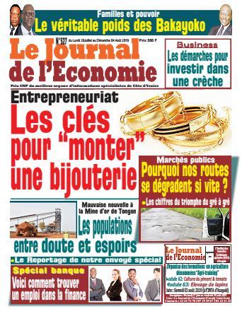 Couverture du Journal LE JOURNAL DE L'ÉCONOMIE N° 527 du 29/07/2019