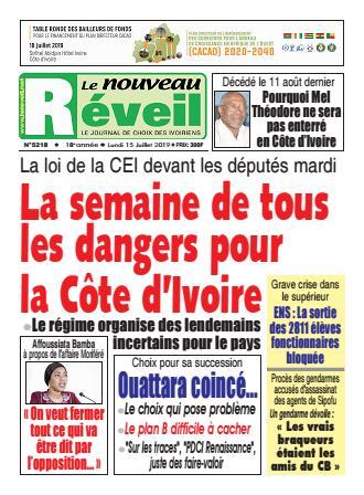 Couverture du Journal LE NOUVEAU RÉVEIL N° 5218 du 15/07/2019