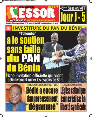 Couverture du Journal L'ESSOR IVOIRIEN N° 134 du 01/07/2019