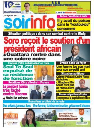 Couverture du Journal SOIR INFO N° 7432 du 25/07/2019