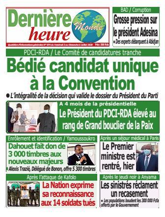 Couverture du Journal DERNIERE HEURE N° 75 du 03/07/2020