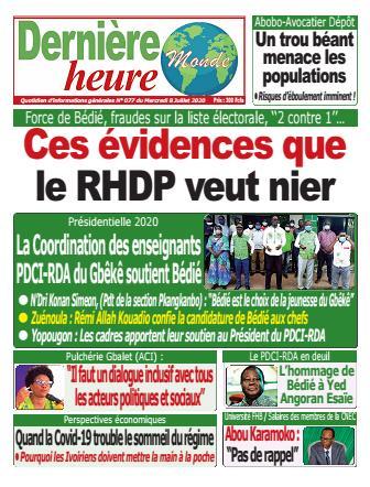 Couverture du Journal DERNIERE HEURE N° 77 du 08/07/2020