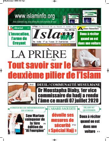 Couverture du Journal ISLAM INFO N° 760 du 11/07/2020