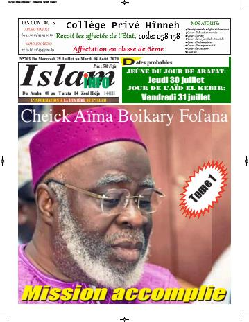 Couverture du Journal ISLAM INFO N° 763 du 30/07/2020