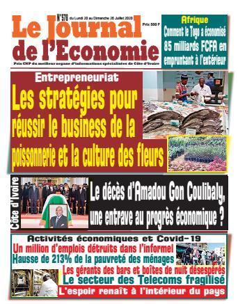 Couverture du Journal LE JOURNAL DE L'ÉCONOMIE N° 578 du 20/07/2020
