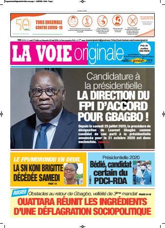Couverture du Journal LA VOIE ORIGINALE N° 461 du 27/07/2020
