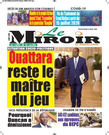 Couverture du Journal LE MIROIR D'ABIDJAN N° 24 du 14/07/2020