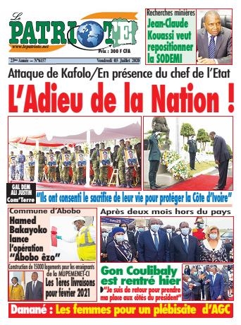 Couverture du Journal LE PATRIOTE N° 6157 du 03/07/2020