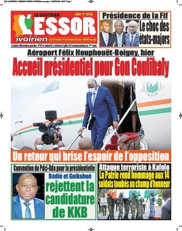 Couverture du Journal L'ESSOR IVOIRIEN N° 388 du 03/07/2020