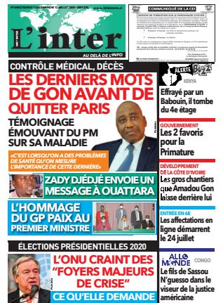Couverture du Journal L'INTER N° 6608 du 11/07/2020