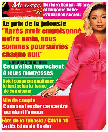 Couverture du Journal MOUSSO D'AFRIQUE N° 803 du 28/07/2020