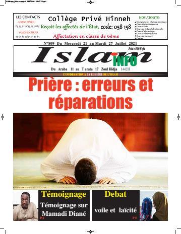 Couverture du Journal ISLAM INFO N° 809 du 22/07/2021