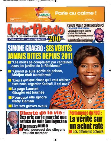 Couverture du Journal IVOIR'HEBDO N° 45 du 22/07/2021