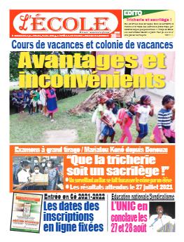 Couverture du Journal L'Ecole N° 36 du 12/07/2021