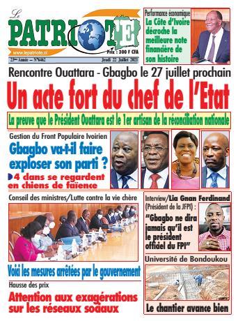 Couverture du Journal LE PATRIOTE N° 6462 du 22/07/2021