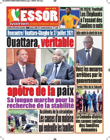 Couverture du Journal L'ESSOR IVOIRIEN N° 646 du 22/07/2021