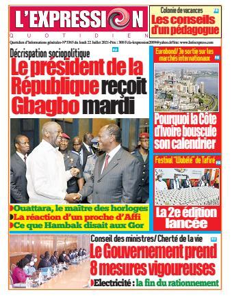 Couverture du Journal L'EXPRESSION N° 3366 du 22/07/2021